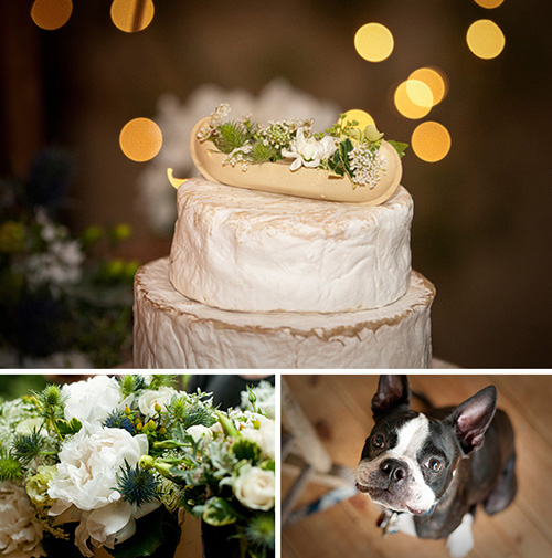 canoe cake top bouquet and dog