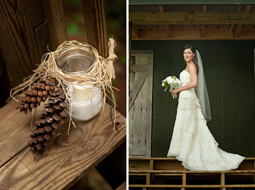 bride holding a bouquet and mason jar candle holder