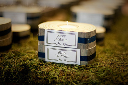 bark wrapped candle guest favors
