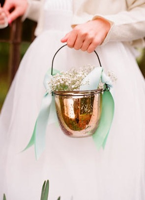 babys breath in copper pot