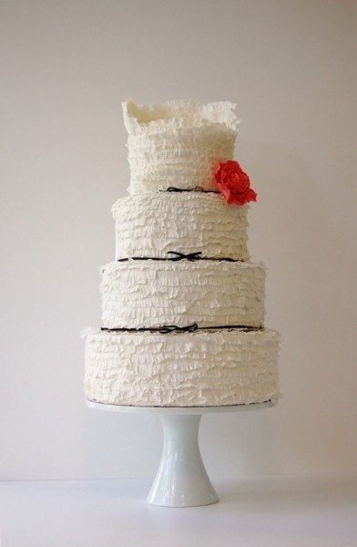 frilly bridal gown cake
