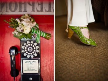 Vintage looking green wedding shoes