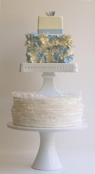 Two tier ruffles and hydrangea cake