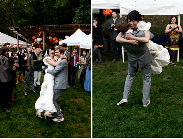 Outdoor indie wedding dancing