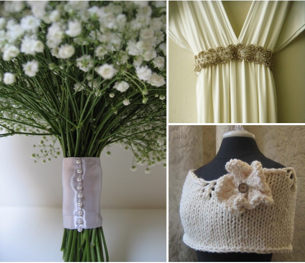 babys breath knit shrug and bridal gown