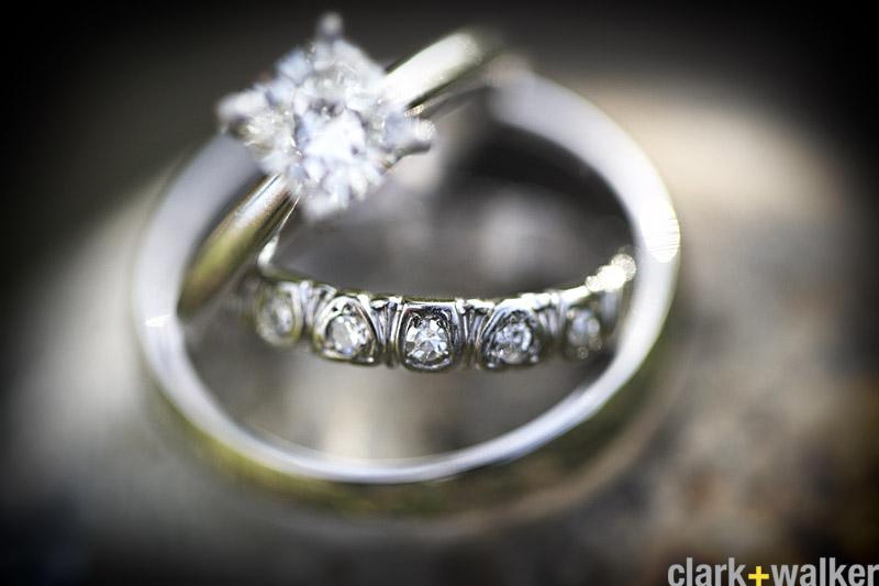 diamond solitaire and diamond wedding band