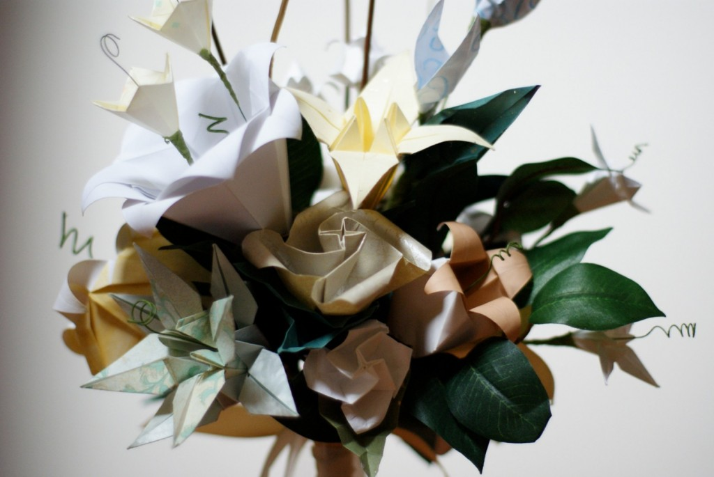 pale origami bouquet