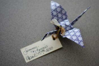 origami crane seating card