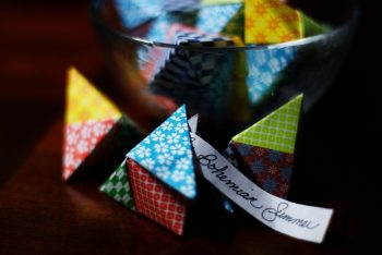 colorful origami fortune poppers