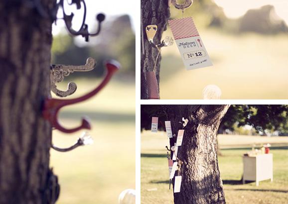 Escort card hooks in a tree