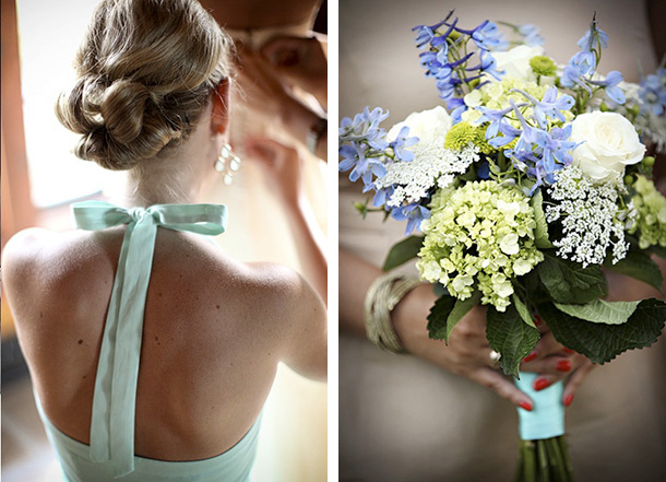 tie back gown and bouquet