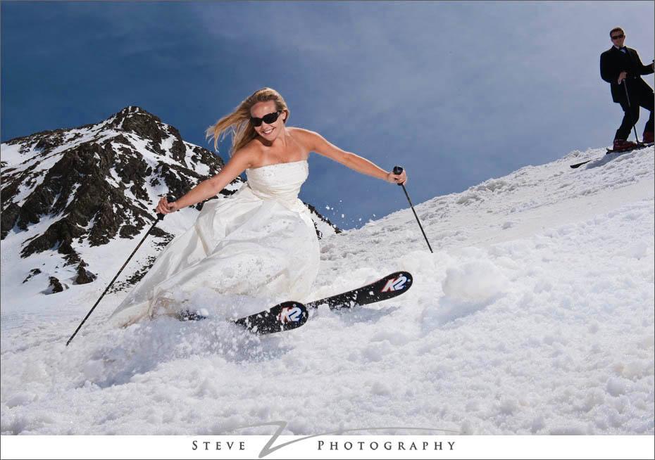 bride skis down steep slope