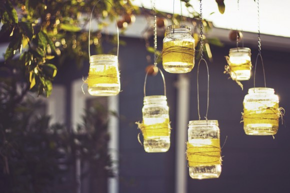mason jars with tea lights
