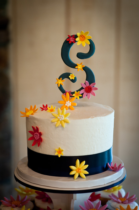 cake top with S monogram