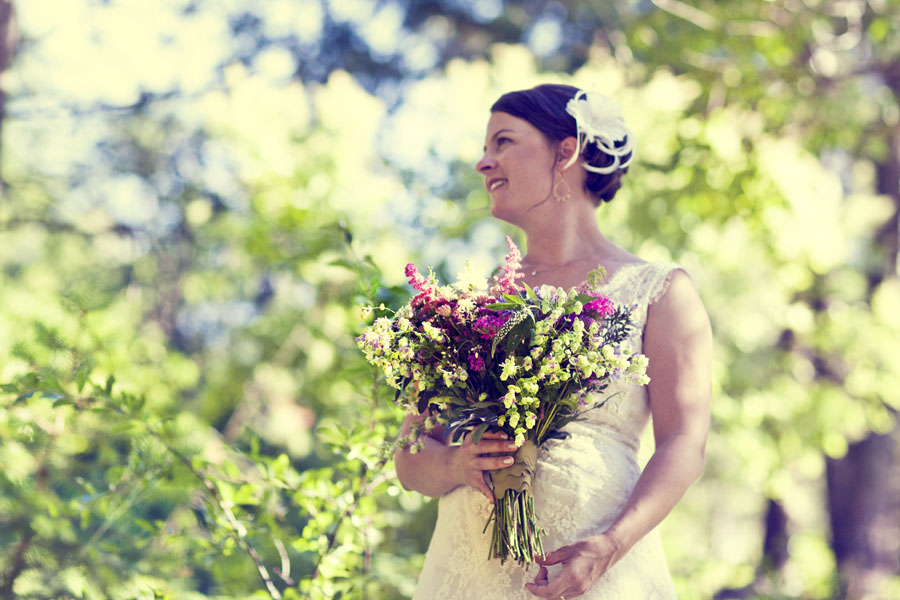 bride and wildflowers