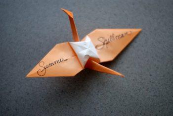 Origami crane escort card