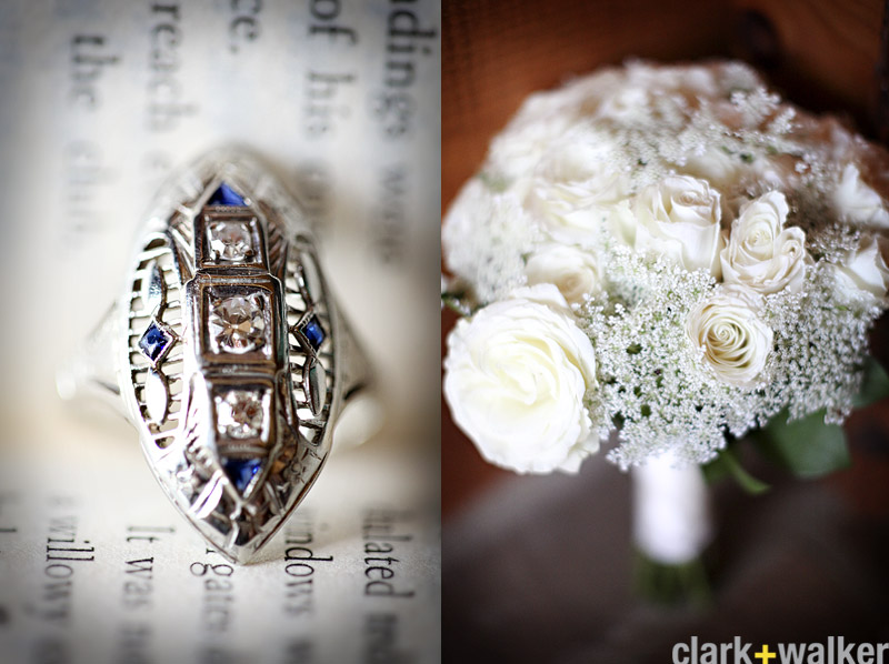heirloom sapphire ring and white bouquet