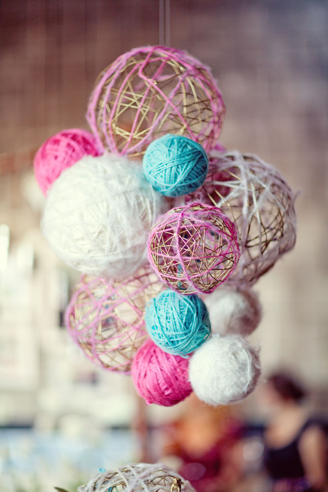 multi-colored yarn balls
