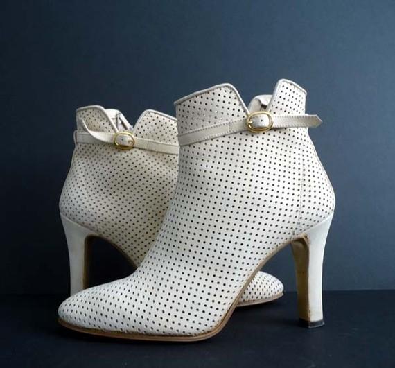 Vintage White Booties