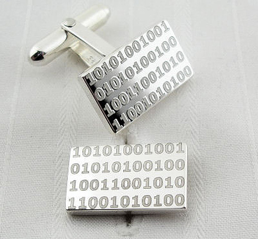 silver cuff links with binary code