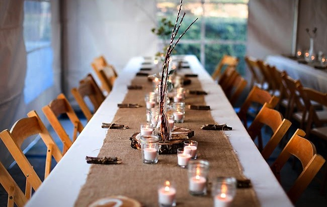 pussy willow and wood centerpieces