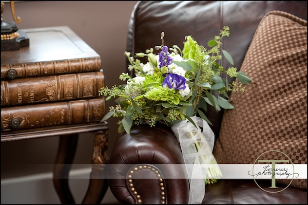 bouquet on a leather chair