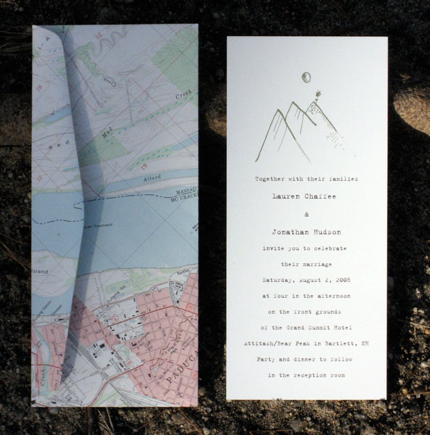 mountain invitation with map envelope
