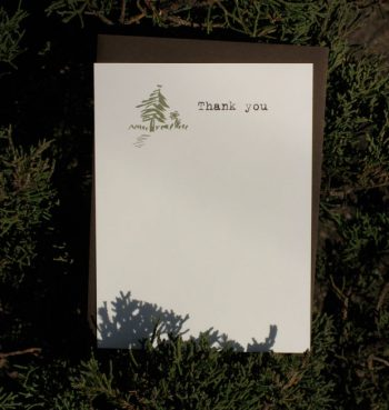 pine tree thank you card