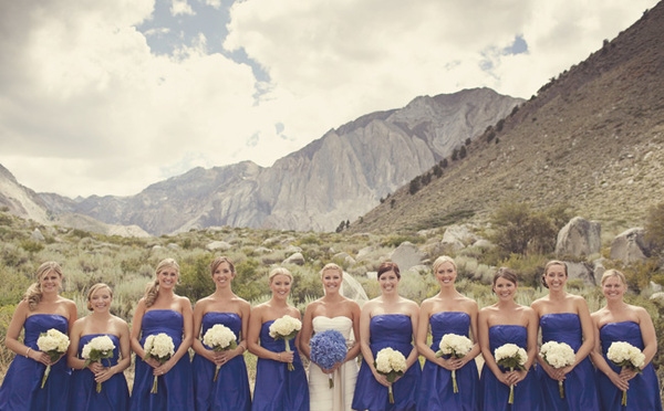 bride and bridesmaids line up in front of mountains