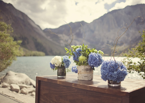 birch vases with hydrangeas