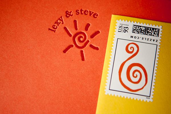 colorful bright orange and yellow wedding invitation
