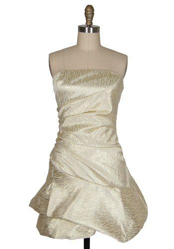 gold strapless bridesmaid dress
