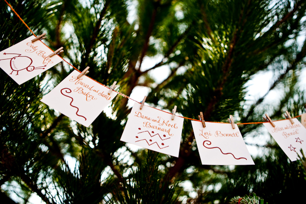 place cards with pertoglyphic drawings