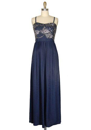 full length navy bridesmaid dress