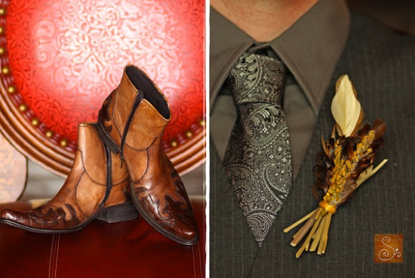 cowboy boots and gray neck tie