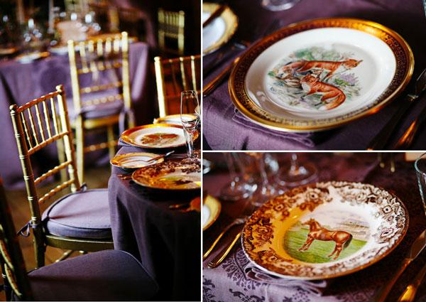 vintage hunting lodge china and purple table decor