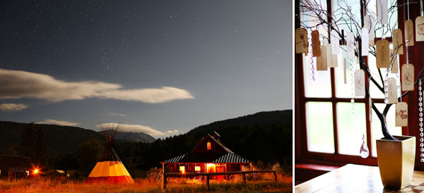 teepee and lodge at night