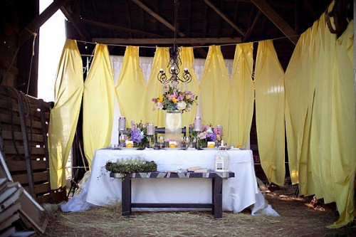 yellow and purple wedding inspiration table scape