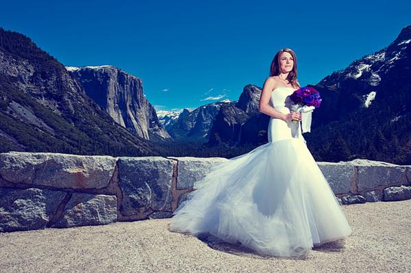 bride in front of el capitain