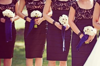 bridesmaid in little black dress