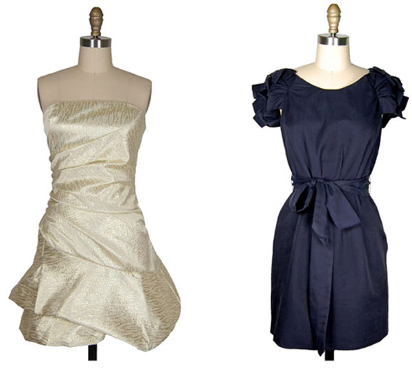 short navy and champagne party dresses