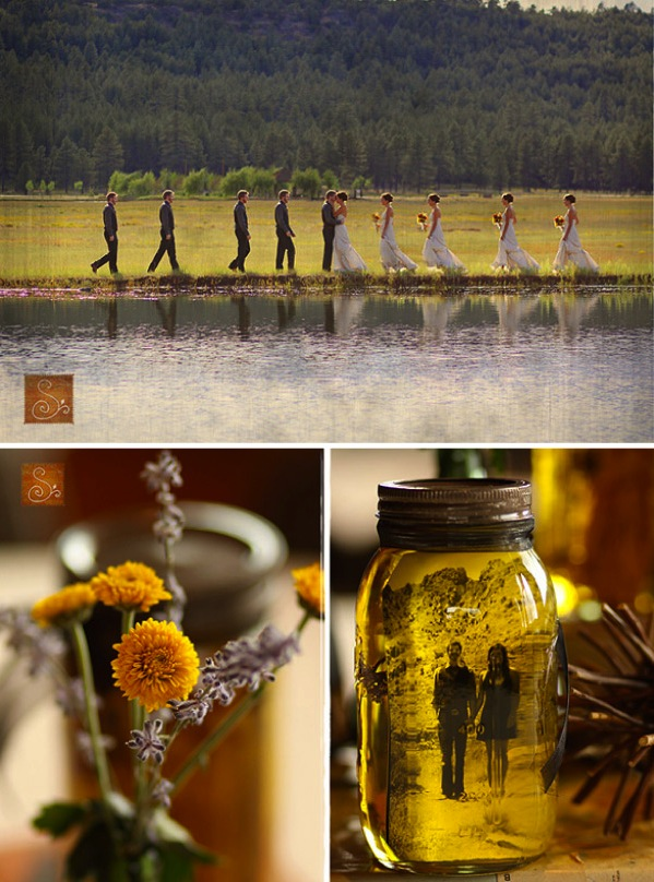 bridal party, button mums, and mason jar