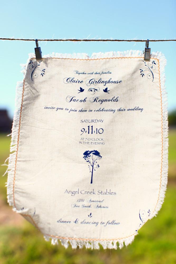 wedding invitation printed on linen