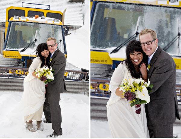 bride and groom near snow cat