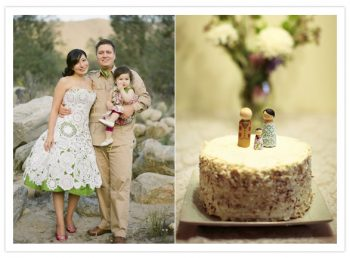 bride and groom with child and small cake