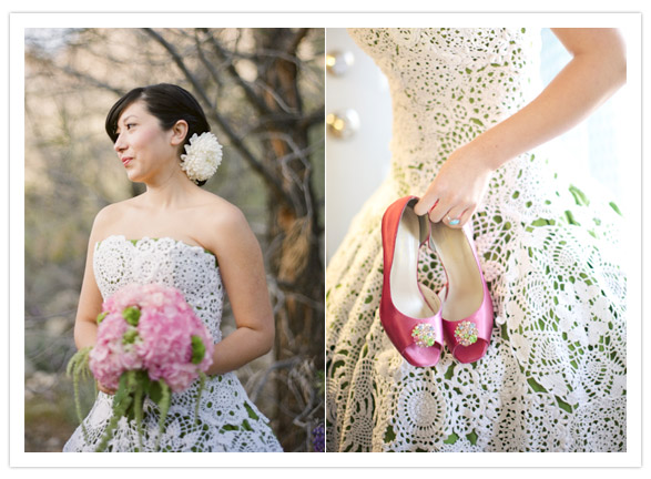 bride in green dress with doily lace overlay and red shoes
