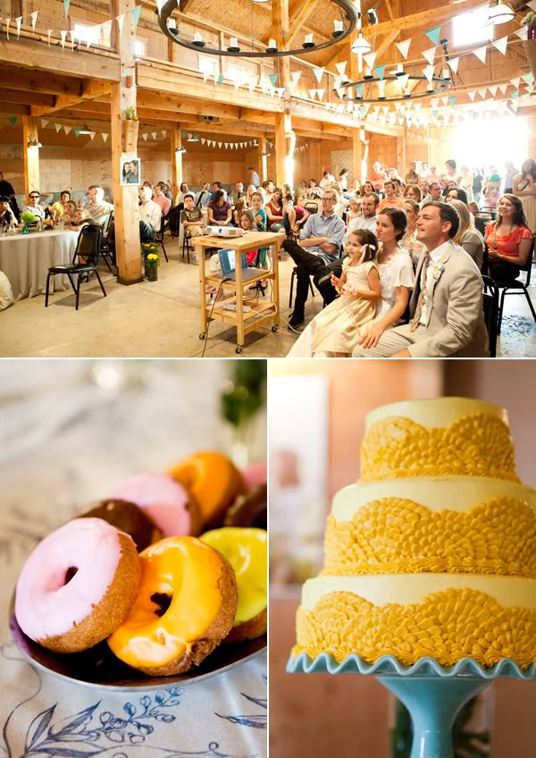 barn reception and DIY carrot bunt cake with donuts