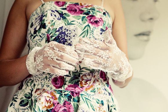 lace gloves and English country style floral print