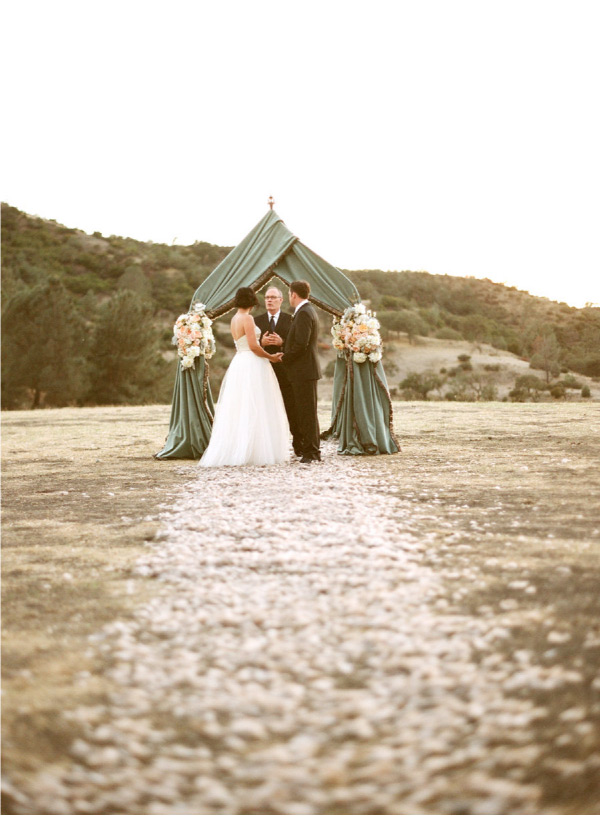 bride and groom elope under a green canopy