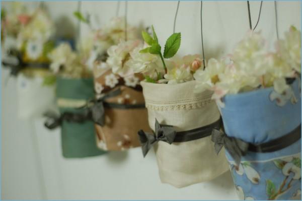 fabric-wrapped mason jars